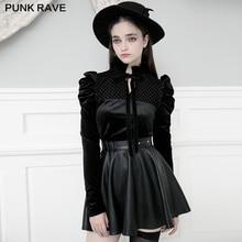 PUNK RAVE Women's Gothic Falbala Collar Velvet Bow Blouses Fashion Playful Long Sleeve Soft Cute Shirt Tops