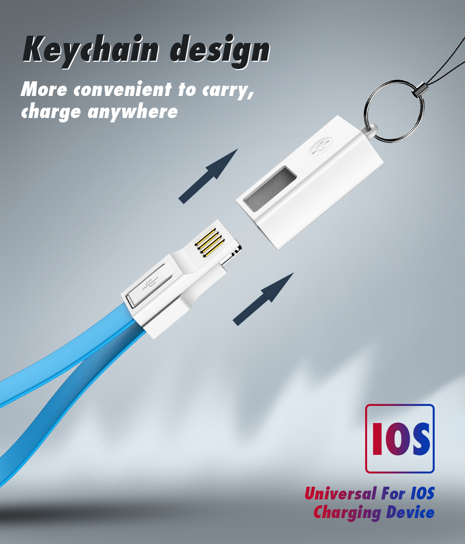 !ACCEZZ For iphone Cable Fast Charging For iphone XR XS MAX X 8 7 6 5 Plus Ipad mini Short USB Cable Keychain Data Sync TPE Cord (4)