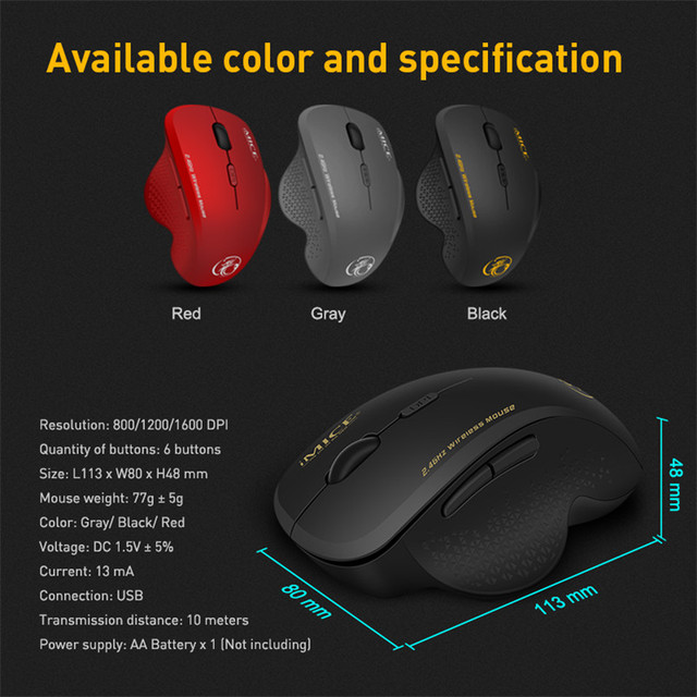 Wireless Mouse Ergonomic Computer Mouse PC Optical Mause with USB Receiver 6 buttons 2.4Ghz Wireless Mice 1600 DPI For Laptop 6