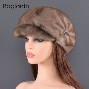 Image 5 - Moda vizon kürk kap kadınlar için gerçek doğal bütün kürk şapka üst aksesuarları sıcak rus kış kürk şapkalar bayan