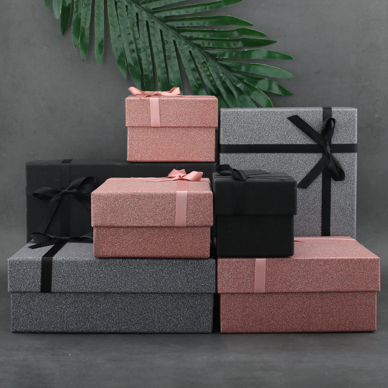 Bow Gift Box Lettering Empty Box Packaging Box Christmas Gift Packaging Valentine's Day Birthday Party Gift Boxes Bags