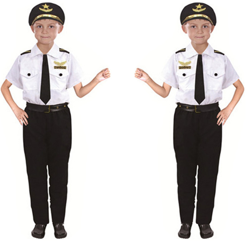 Halloween COS Play Children COS Makeup Ball Clothing Small Captain Pilots Air Force Professional Performance Wear