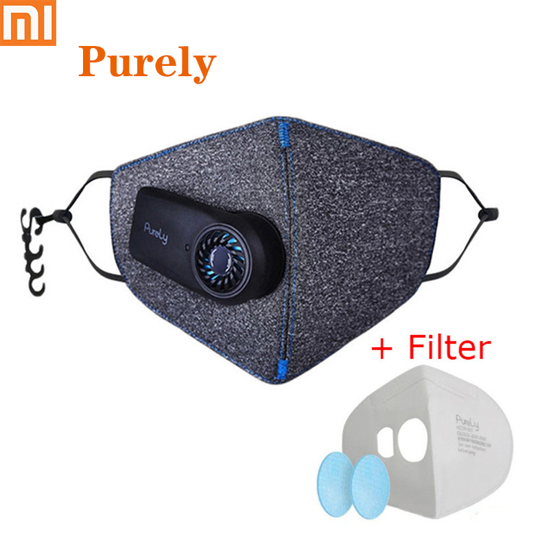 Xiaomi Purely Anti Haze Mouth Mask KN95 Rechargeable Anti Dust Air Breathing Purifier Mask PM2.5 Filter For Outdoor 550mAh /H15