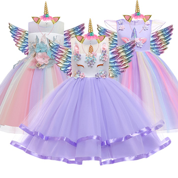 Baby Girls Unicorn Tutu Dress Pastel Rainbow Princess Girls Birthday Party Dress Children Kids Halloween Unicorn Perform Costume baby girls christmas halloween costume witch vampire cosplay tutu dress kids princess tulle dress girl festival birthday dress