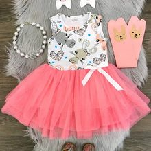 Easter Children Kids Baby Girls Dress Sleeveless Rabbit Print Princess Vest Dress Summer Princess Dresses Baby Girls Clothes 901(China)