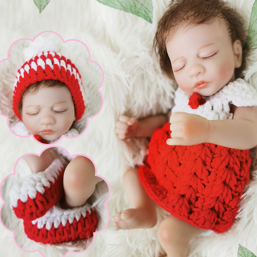 Real Touch soft full Silicone Reborn doll 10inch bebe Reborn mini Baby dolls Bonecas Toy For Girls Birthday Gift