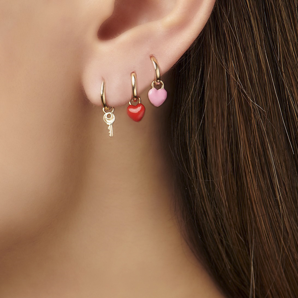 1pc Cute Tiny Number Heart Key Gold Earrings Small Huggie Earrings Trendy Fashion Circle Gift For Women