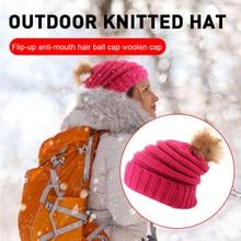 Caps Pompom Crochet Baby Boy Women Hat Beanies-Hats Mom Bobble-Ball Fur Knitted Wool