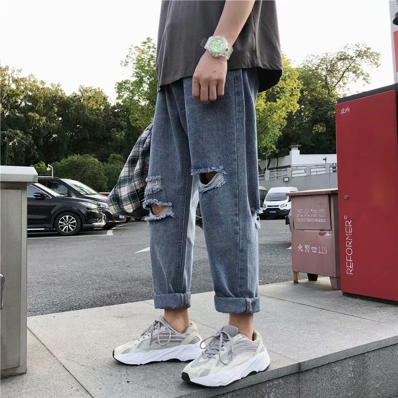 Ripped Jeans Men's Fashion Washed Solid Color Casual Jean Pants Men Streetwear Wild Loose Hip Hop Denim Trousers Mens S-3XL