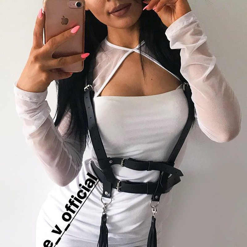 InsGoth เซ็กซี่ Halter เข็มขัดหนังสีดำผู้หญิงโกธิค Streetwear สายรัดหน้าอกเข็มขัด Bond หนังสายรัดเอว