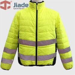Mannen Hoge Zichtbaarheid Geel Veiligheid Reflecterende Winter Jas Mannen Warme Jas EN471 Ansi Winter Werk Veiligheid Jas