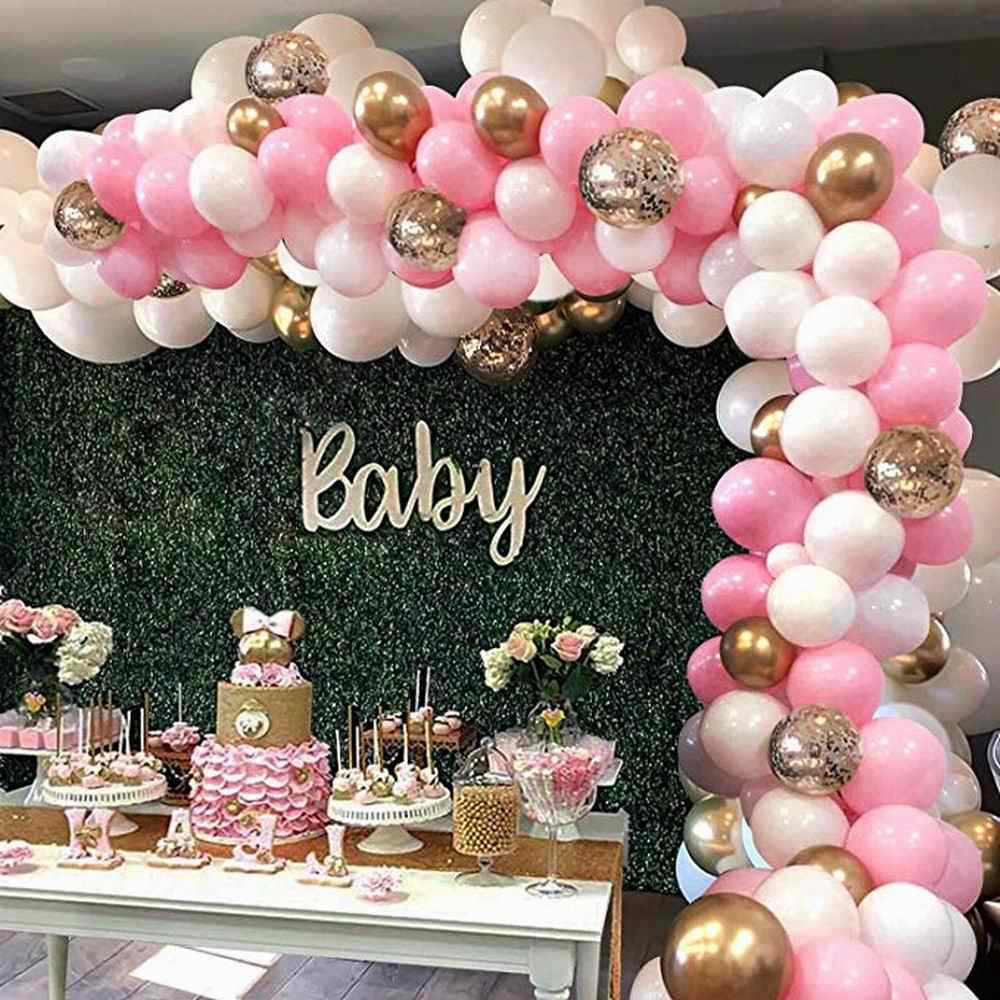 127pcs Pink Balloon Arch Garland Kit White Pink Gold Confetti Latex Balloons Baby Shower Wedding Birthday Party Decorations