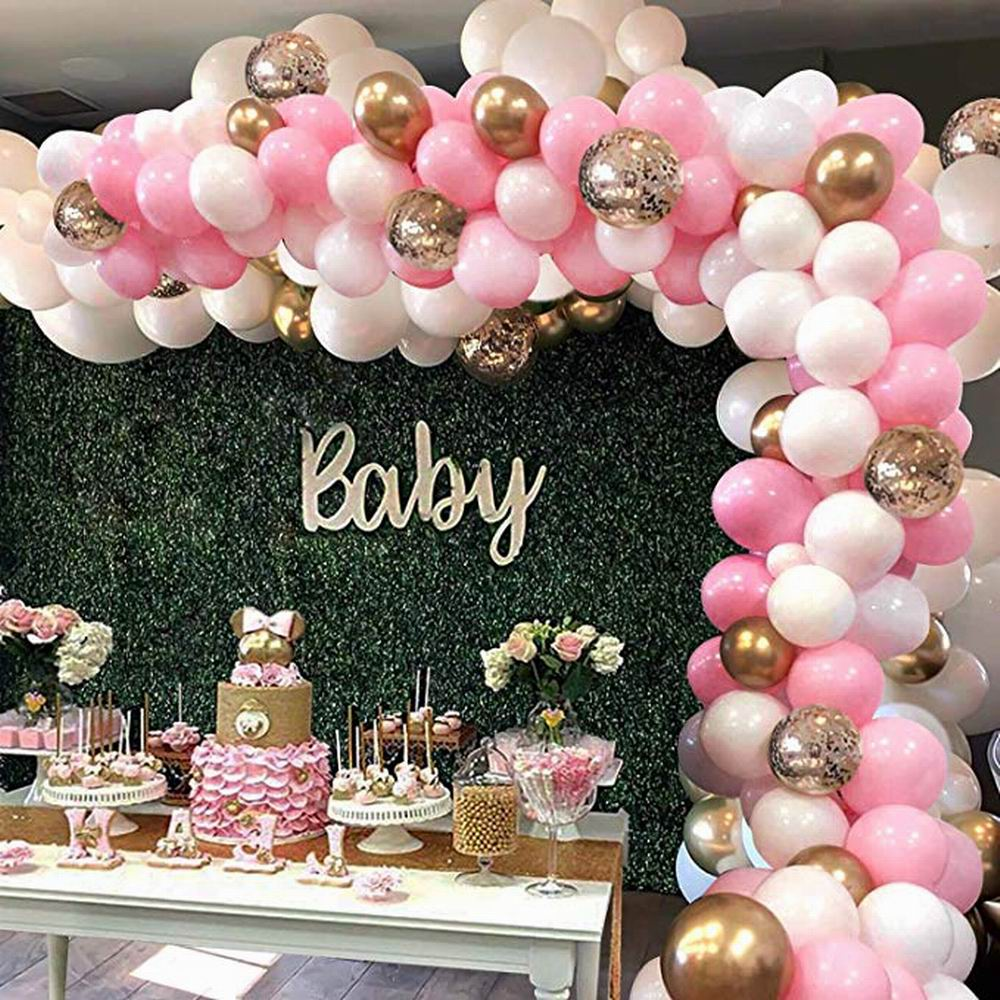 127 шт Розовый Шар АРКА комплект Гирлянды Белый Розовый Золотой конфетти латексные воздушные шары детский душ свадьба день рождения украшен...