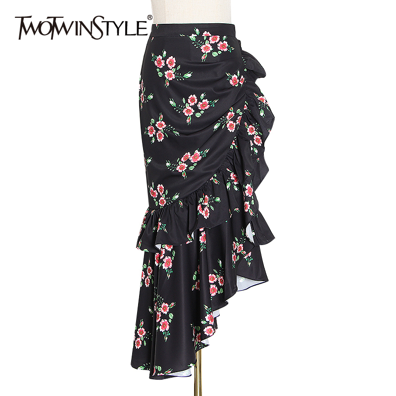 TWOTWINSTYLE Irregular Print Hit Color Skirt For Female High Waist Ruffles Asymmetrical Skirts Women 2020 Fashion Clothing Tide