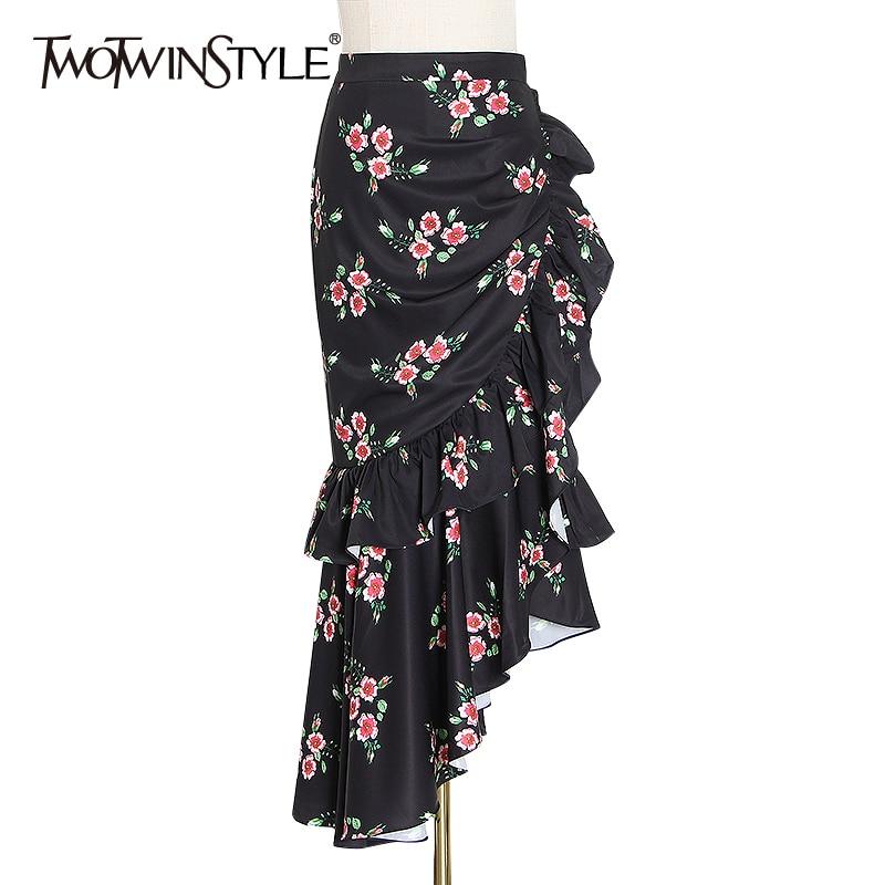 TWOTWINSTYLE Irregular Print Hit Color Skirt For Female High Waist Ruffles Asymmetrical Skirts Women 2020 Fashion Clothing Tide