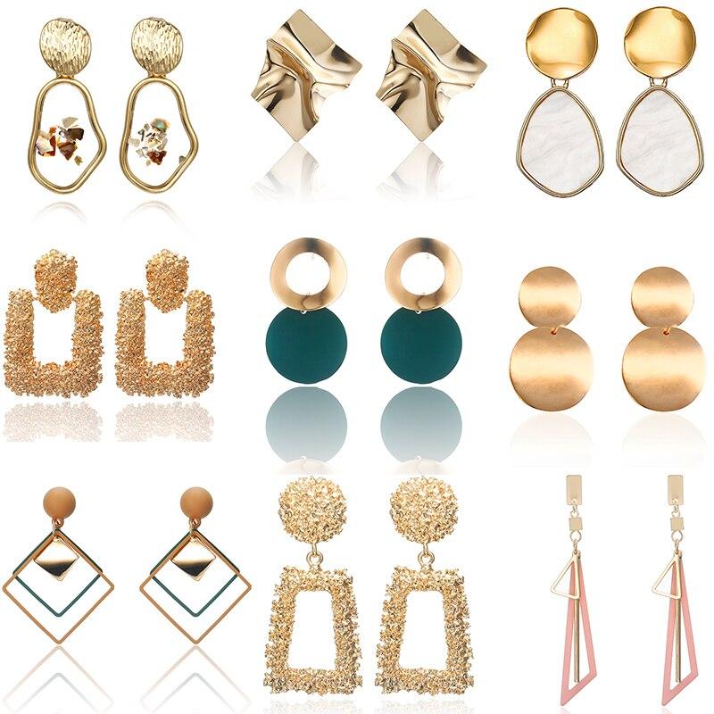 2020 New Fashion Big Geometric Round Earrings For Women Hanging Dangle Earrings Drop Earrings Modern Female Jewelry