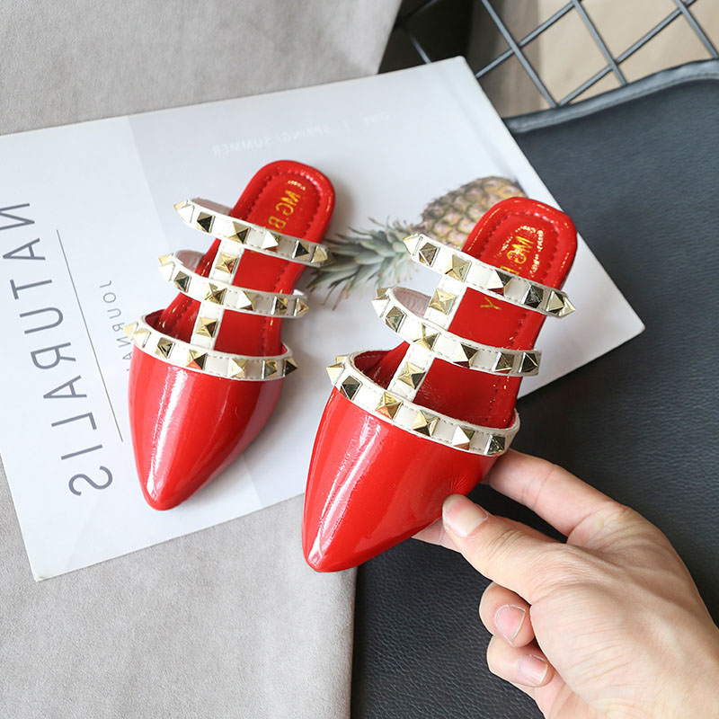 Spring Summer Girls Shoes Baby Sandals Kids Rome Shoes Children Brand Sandals Fashion Shine PU Rivet Hollow Out 2 To 12 Yrs