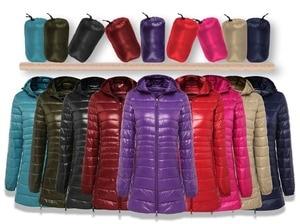 Image 5 - NewBang 8XL Ladies Long Warm Down Coat With Portable Storage Bag Women Ultra Light Down Jacket Womens Overcoats Hip Length