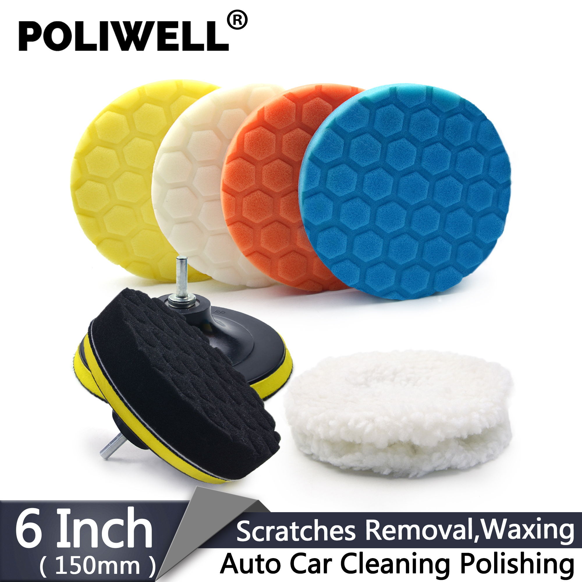 6 Inch Car Polishing Kit 11PCS/Set Buffing Sanding Sponge Pads + Wool Bonnet Pads + 8mm M14 Drill Adapter For Electric Drill