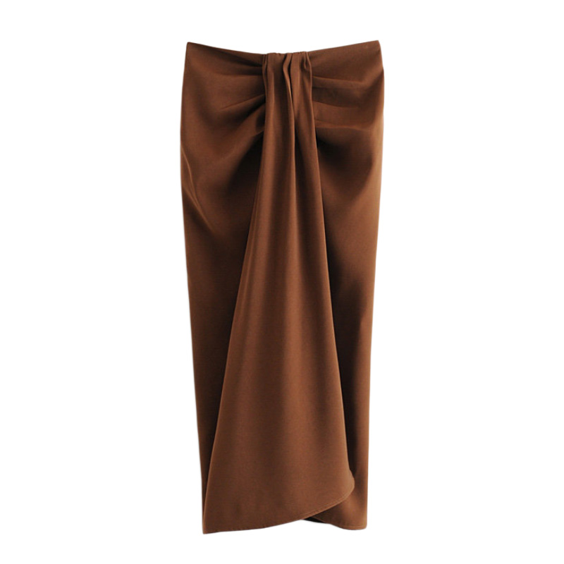 Women Chic Solid Mid Calf Skirt Pleated Design Split Zipper Fly Female Stylish Sexy Slim Skirts FFZBQ75