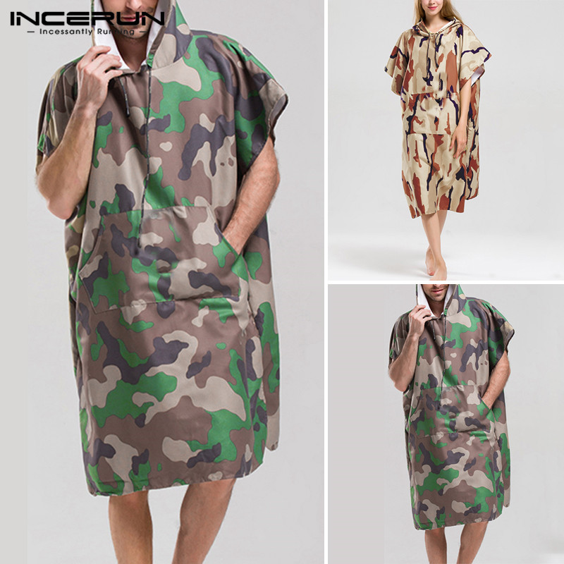 INCERUN Men Chic Camouflage Short Sleeve Hooded Pullover Poncho Beach Cape Cloak Bath Towel Casual Men Bathrobe Hoodies 2019