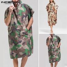 INCERUN Men Chic Camouflage Short Sleeve Hooded Pullover Poncho Beach Cape Cloak Bath Towel Casual Bathrobe Hoodies 2020