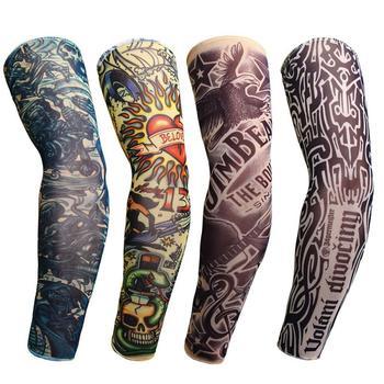 Ciclismo ao ar livre tatuagem braço manga homem mulher falsa tatuagem impresso uv mtb bicicleta mangas braço absorção de suor 1
