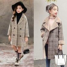 Вельветовые толстые зимние хлопковые длинные куртки для девочек Детская верхняя одежда детское повседневное клетчатое шерстяное пальто с отложным воротником