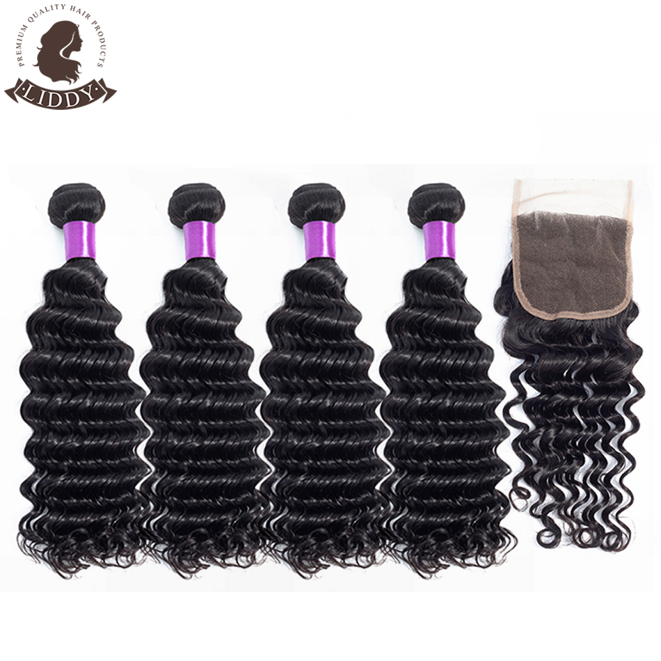 Liddy Hair 4 Bundles Brazilian Deep Wave Hair With Closure 100% Non Remy Human Hair With 4*4 Lace Closure