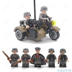 100PCS WW2 Motorcycle Mini Soldier Military Figure Gun Weapon Accessory Kits Playmobil Locking Building Block Brick Children Toy
