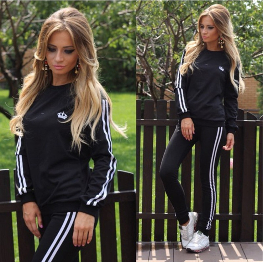 Two Piece Set Women Black Sexy Gym Casual Tracksuit Pullover Trousers Joggers Suit Party Club Top Sets Cheap Sexy Sleep Clothes