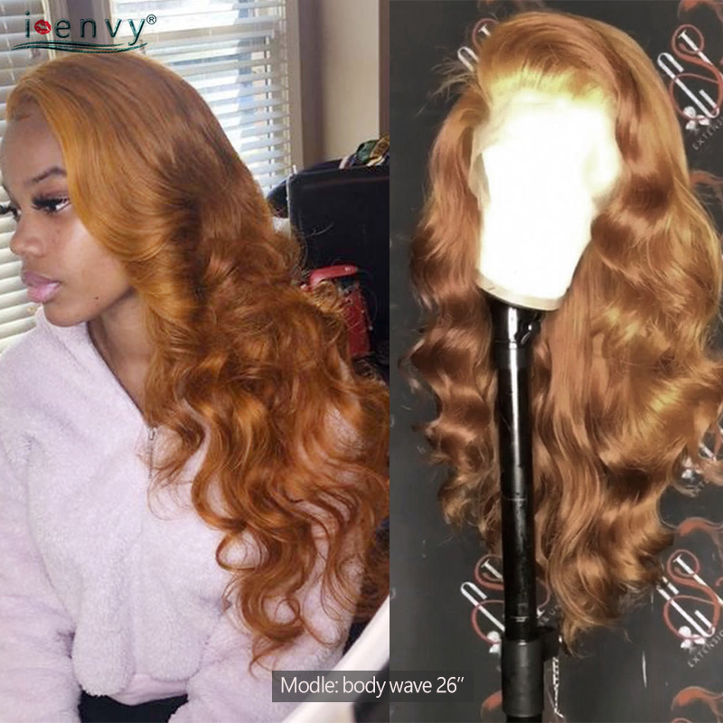 13X4 Highlight Lace Front Human Hair Wigs Body Wave Ginger Blonde Lace Front Wigs Peruvian Orange Human Hair Wigs Non-Remy 180%