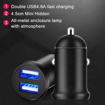 Mini Universal Car Charger 5V 2.4A Dual USB Power Port Adapter Cigarette Lighter Converter For Phones/PDA/MP3/MP4/PMP/GPS image