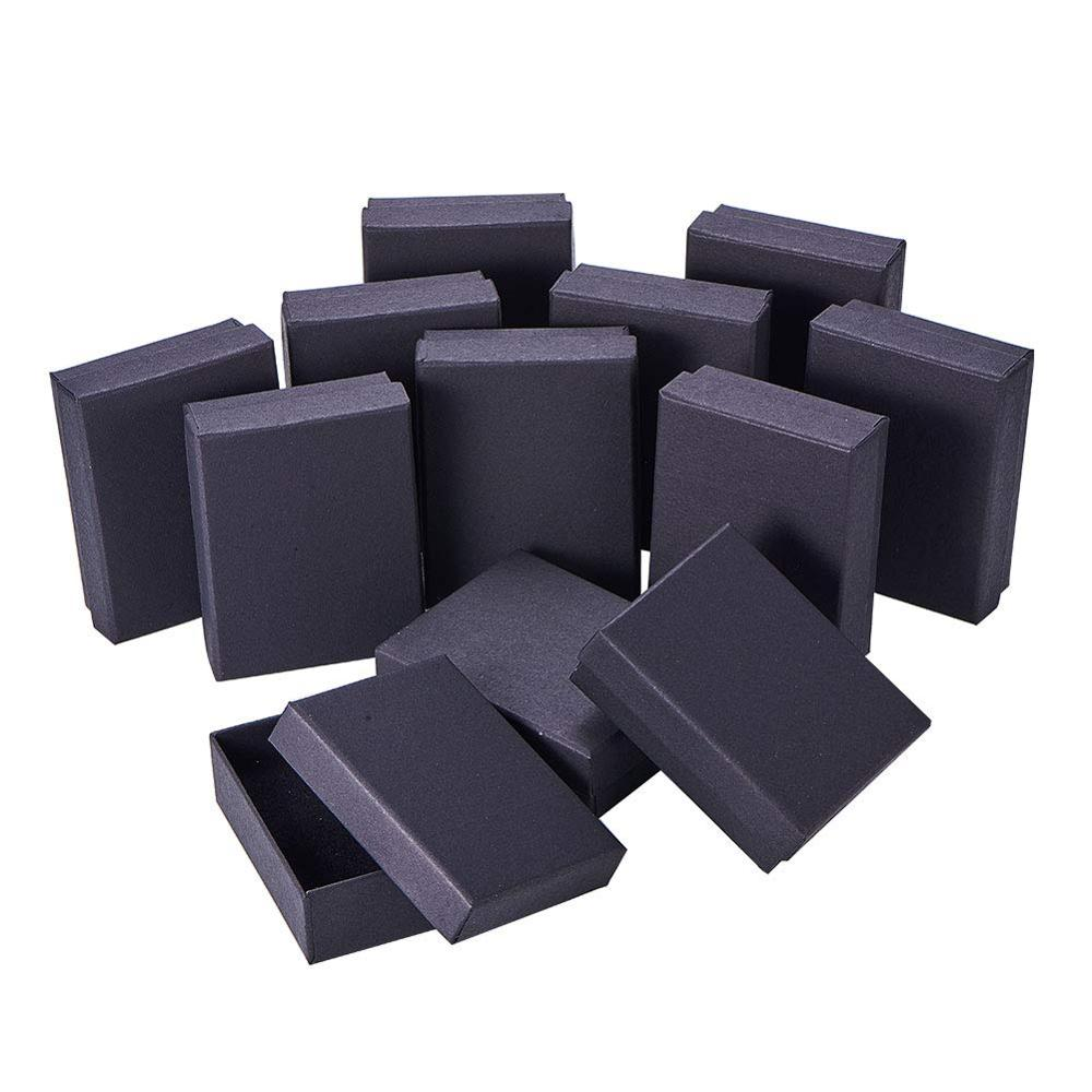 Square/Rectangle Jewelry Organizer Box For Earrings Necklace Bracelet Display Gift Box Holder Packaging Cardboard Boxes Black