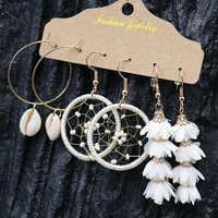 Dreamcatche-Conjunto de pendientes bohemios para mujer, de flor blanca, joyería de moda para mujer, aretes de concha hechos a mano, regalo 2020