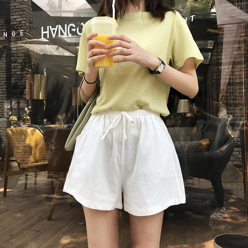 Summer New High Waist Loose Korean Version Of The Thin Casual Cotton And Linen Solid Color Shorts