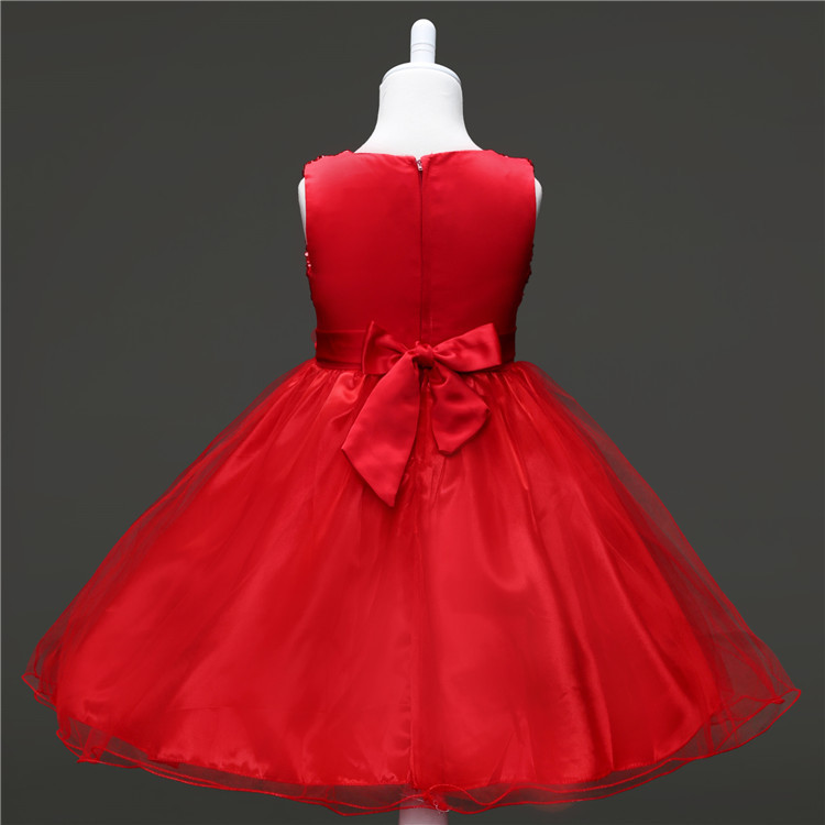 Childrens Wedding Dress for 3 Years To 11 Years Kids Girl Clothes Princess Knee Length Blue Red Party Wear Dresses for Girls 3