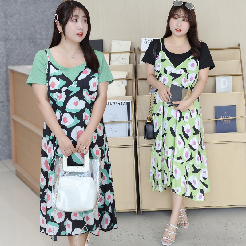 [Xuan Chen] Fat Mm Large Size Dress New Products Mid-length Avocado Two-Piece Dress Hipster Set W024