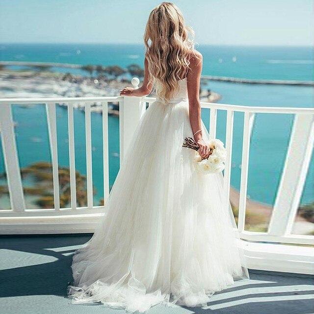 Verngo A ラインのウェディングドレスシンプルなチュール夏の花嫁のドレスビーチウェディングドレスエレガントなロングドレスローブデのみ