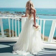 Verngo a 라인 웨딩 드레스 간단한 tulle 여름 신부 드레스 비치 웨딩 드레스 우아한 롱 드레스 robe de mariee