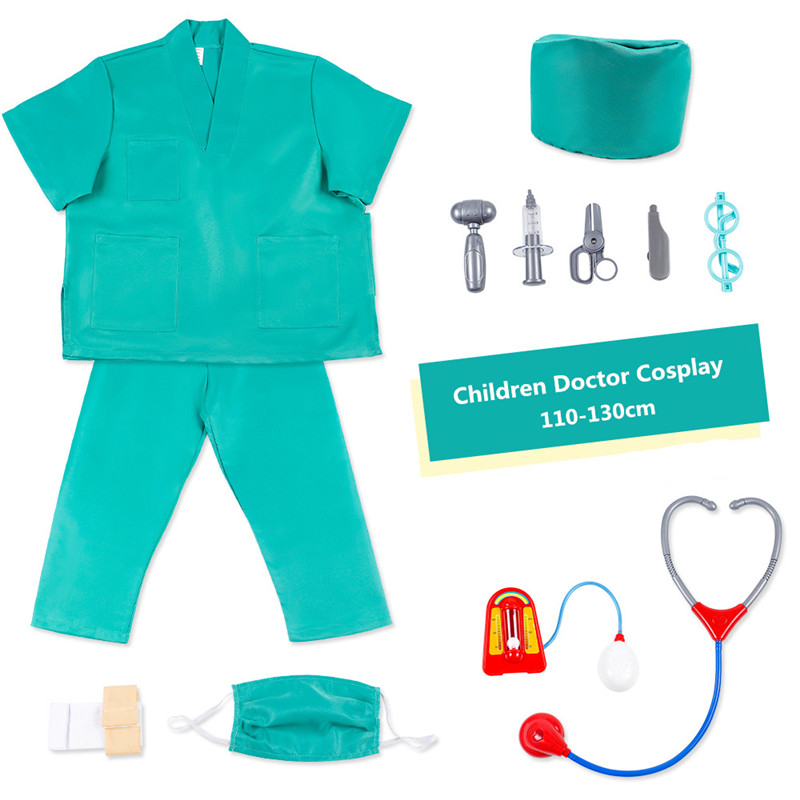Children Doctor Clothes Kindergarten Role Play Cosplay Costumes Professional Experience Cartoon Veterinary Dress Medical Tools