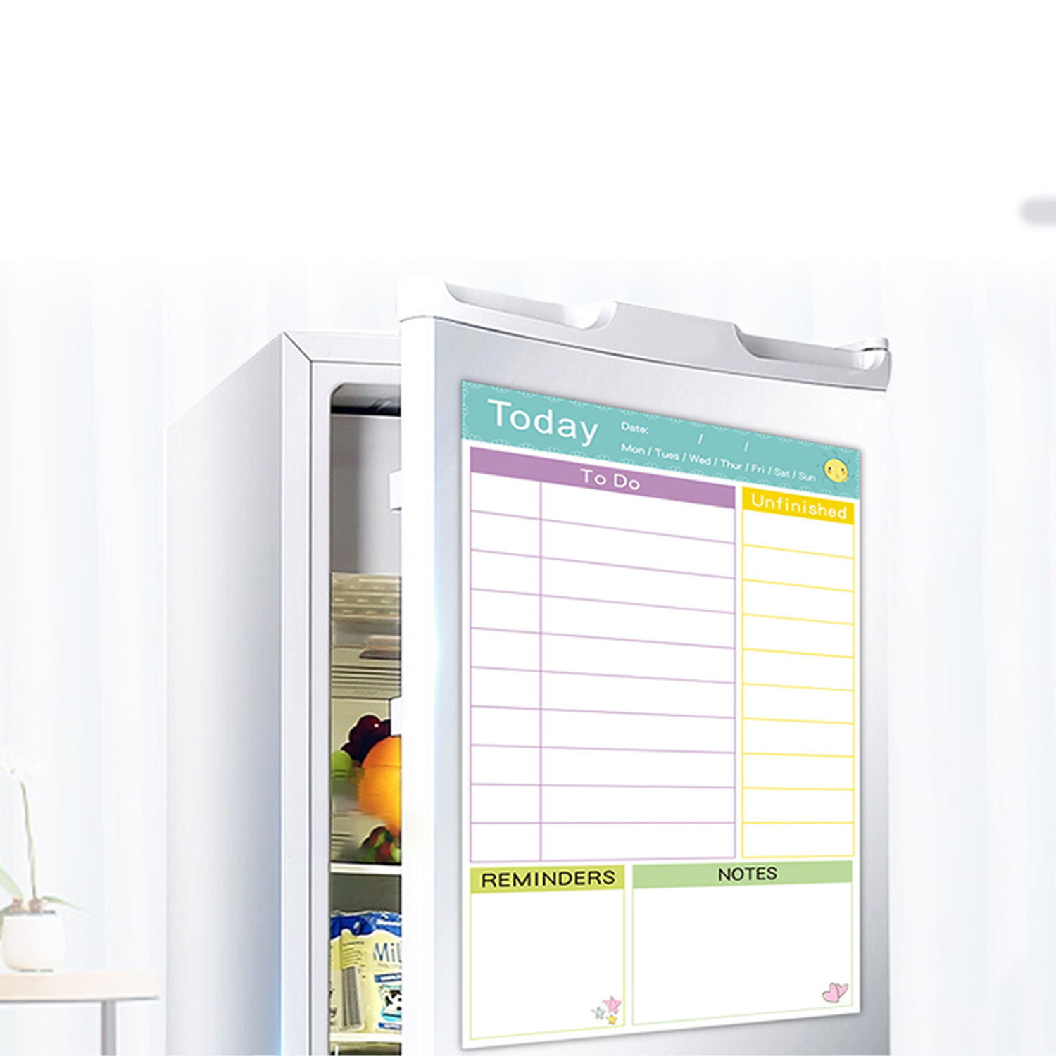 50x30cm Reusable Magnetic Dry Erase Daily Planner Whiteboard Recording Board With Marker Eraser For Kichen Fridge Refrigerator