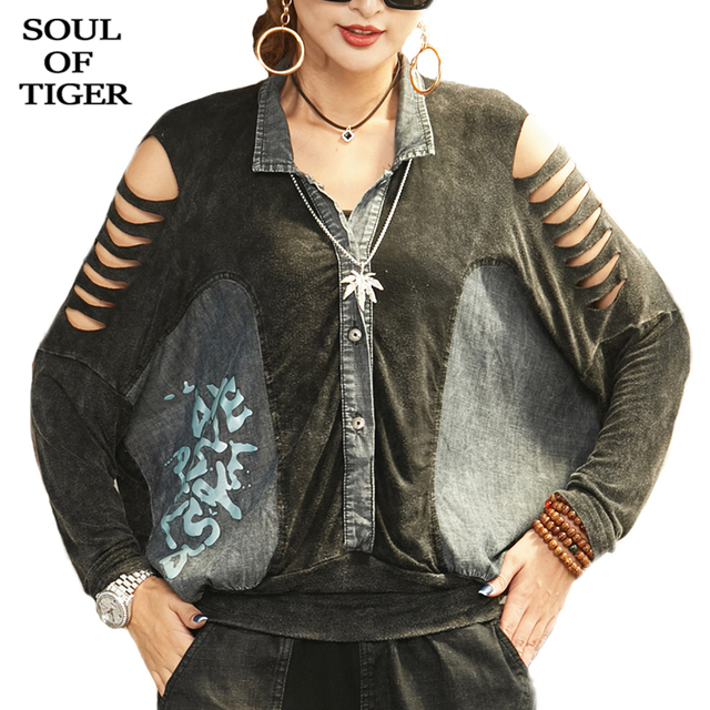 SOUL OF TIGER New 2020 Fashion Korean Ladies Spring Sexy Shirts Womens Loose Printed Blouses Female Vintage Denim Tops Plus Size