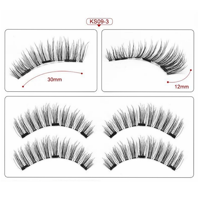 Magnetic Eyelashes with 3 Magnets,No Glue 3D Mink Natural Magnetic Eyelash,pestañas magneticas,cils magnetique,cilios magnetico 3