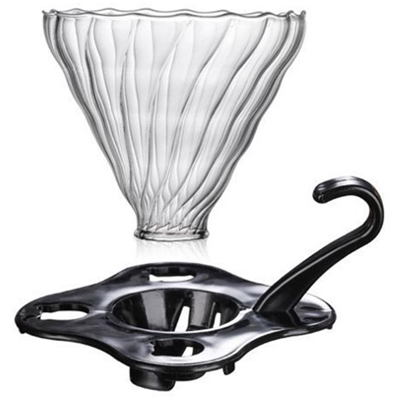 Glass Coffee Dripper Clever Coffee Filter Glass Coffee Pour Over Funnel Dripper (Black)