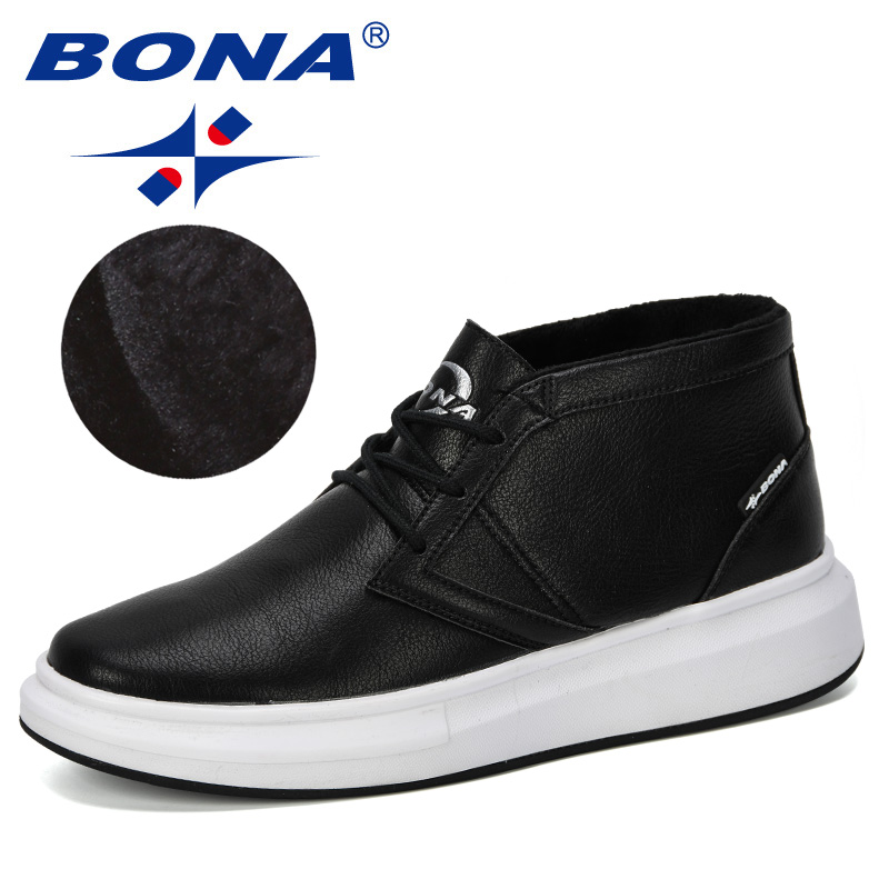 BONA 2019 New Designer Popular Style Men's Vulcanize Shoes Men High Top Fashion Sneakers Lace-Up High Style Solid Colors Plush
