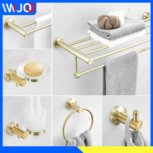 Bathroom Towel Holder Stainless Steel Towel Bar Sets Towel Rack Coat Hook Brushed Gold Toilet Paper Holder with Shelf Soap Dish все цены
