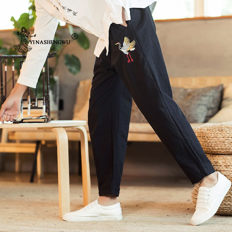 Japanese Pants Crane Embroidery Print Men Pants Casual Loose Long Pants Asian Costume Japan Style Kimono Pants Trousers