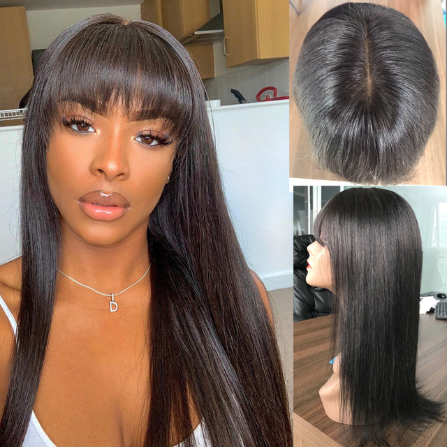 Fake Scalp wig silk base Cap Lace wig Human Hair Wigs for Black women brazilian straight human hair wigs With Bangs non-remy