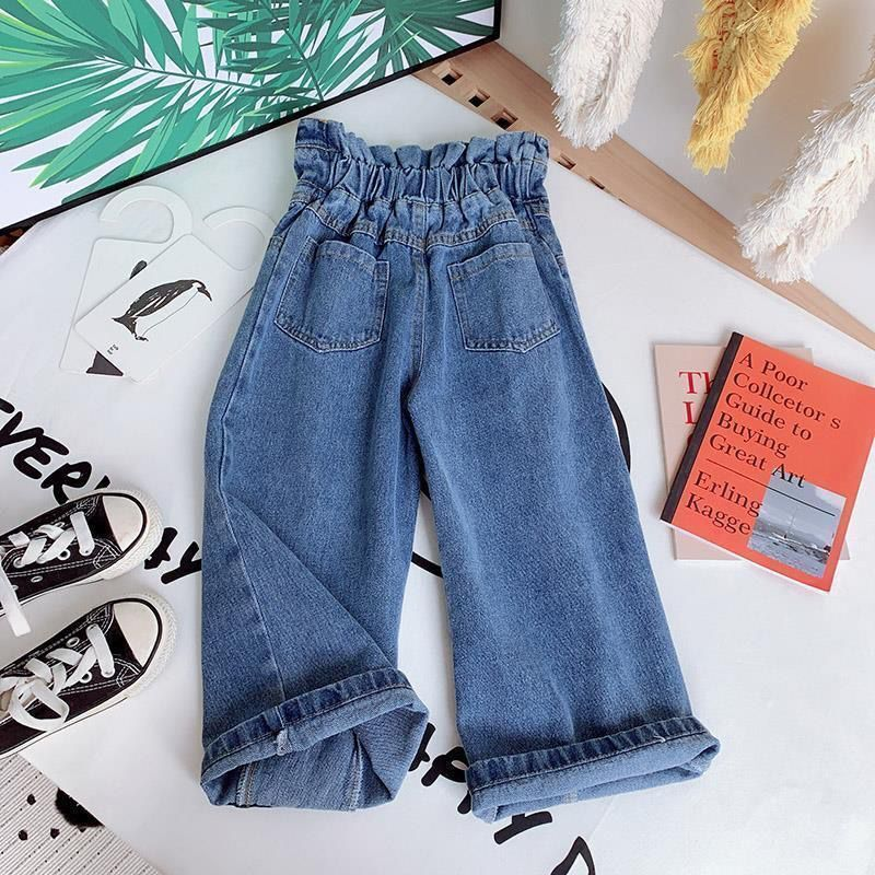 Girls Wide-legged Jeans Spring And Autumn Children Loose Straight Soft Denim Pants Chubby Kid High Waist Jeans 5